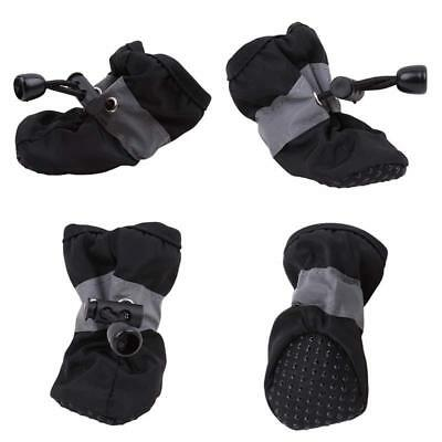 4Pcs Pet Shoes Booties Rubber Dog Waterproof Anti-Slip Rain Boots Outdoor DD