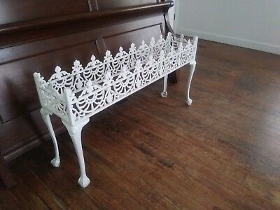 Antique White Wrought Iron Sculpted Planter Stand -Garden -Cottage-Vintage