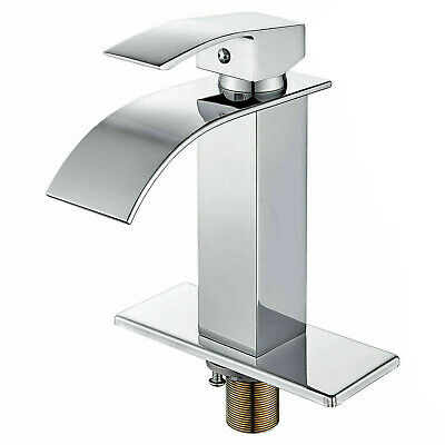 Waterfall Brushed Nickel Single Handle Bathroom Sink Faucet Basin Tap Hole Cover