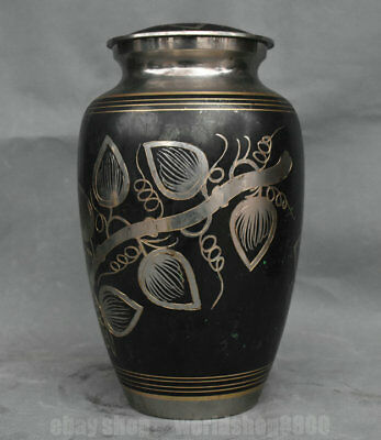 """10"""" Rare Old Chinese Red Copper Silver Dynasty Palace Tree Leaf Bottle Tank Jar"""
