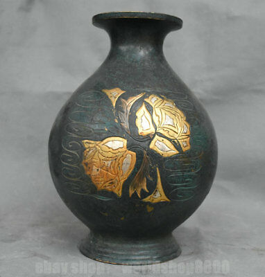 """11.2"""" Rare Old Chinese Red Copper Gilt Dynasty Palace Flower Bottle Tank Jar"""