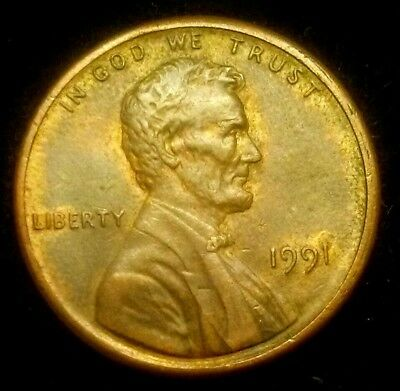 1991 P Lincoln Memorial Cent Double Die