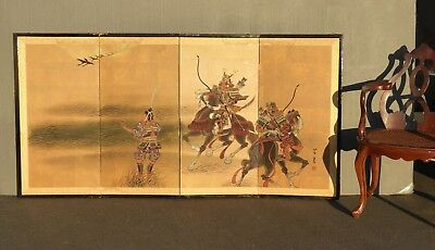 "Vintage Hand Painted ""Warrior"" Byobu Folding Screen Made In Japan Wall Panel Art"