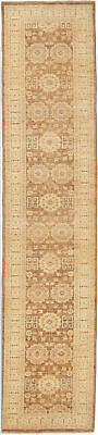 Traditional Hand Knotted Chobi Runner Area Rug Camel/Beige Oriental Rug (2.5x12)