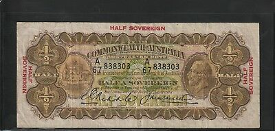 1928 10 Shilling Half Sovereign Note Riddle / Heathershaw Fine+ Condition
