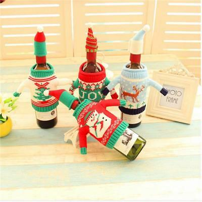 2Pcs Fashion Clubs Christmas Wine Bottle Knitted Ugly Sweater Covers Set WT