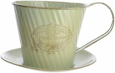 Shabby Chic French Rustic Antique Green Zinc Cup & Saucer Planter 23x20x13cm