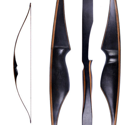 Black 60'' Archery Recurve Bow Longbow Handmade Right Hand Hunting Bow 30-45lbs