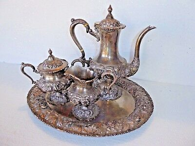 4 Piece Stieff Repousse Sterling Silver Rose Tea Set Hand Chased w Rose Tray