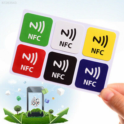 ED85 6Pcs Waterproof NFC Smart Tags Smartphone Adhesive Chip RFID Label Stickers