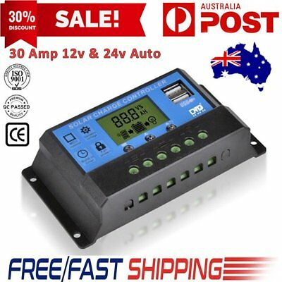 12V/24V Solar Panel Battery Regulator Charge Controller 30A PWM LCD **Quality**