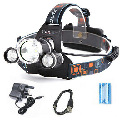 50000 LM Lumens 3 x XML CREE T6 LED Rechargeable Head Torch Headlamp Light Lamp