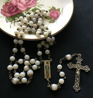 Very Old Pearl Rosary Beads - Rare Medal And Cross