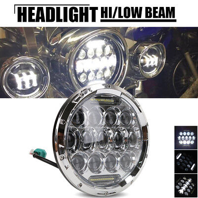 7 inch Round Front LED Headlight DRL Light For Harley Davidson One Piece Black