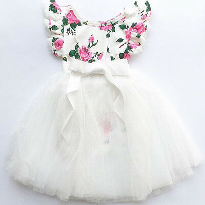 Newborn Toddler Baby Girls Floral Tops Bodysuit Tutu Skirt Dress Outfits Clothes