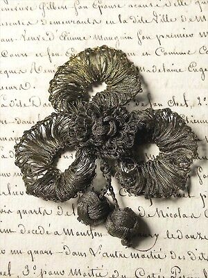 RARE ANTIQUE FRENCH  TRIMMING  CLOVER SHAPE GOLD METAL LACE POMPON TASSEL 19th