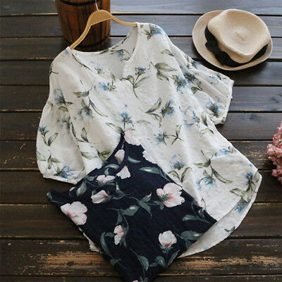 Women Cotton V-Neck Tunic Tops Floral Blouse T Shirt Tee Casual Shirts Plus Size