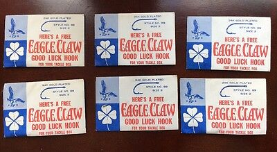 Vintage Wright & McGill Eagle Claw Good Luck Hook 24K Gold Plated Lot Of 6