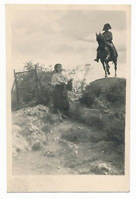 Old Photograph Girl And Napoleon's Statue In Wilderness, Original And Vintage