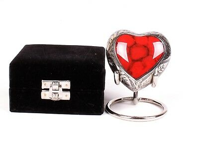 Mini Heart Urn for Ashes, Cremation memorial Small Keepsake Red Heart Stand Box