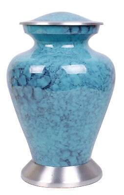 Adult Cremation Urn for Ashes, Large Funeral Memorial blue clouded ashes urn NEW