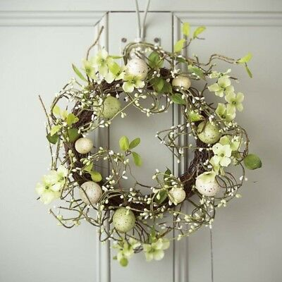 Gisela Graham Country Meadow Easter Wreath 34cm round Spring Flowers and Eggs