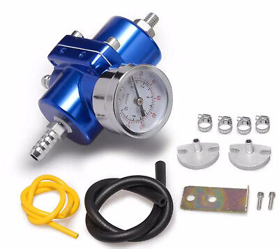 "Fuel Pressure Regulator with Gas Hose Kit 0-140 PSI 3/8"" NPT - Blue for Racing"