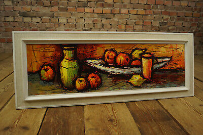 60er Oil Painting Retro Picture Mid-Century Vintage Still Life Riedberger