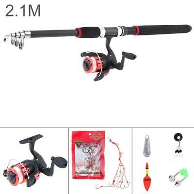 2.1m Telescopic Fishing Rod And Reel Combo Full Kit Spinning Set SEA Or BEACH