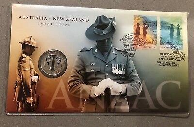 2015 Fifty Cent 50c Anzac Australia New Zealand Joint Issue PNC Coin