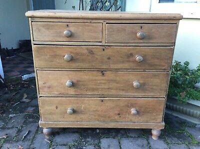 Victorian pine chest of drawers old waxed finish
