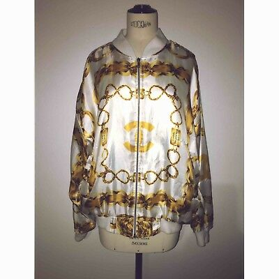 Vintage 80's CHANEL Bomber Jacket. White/Gold. Size M