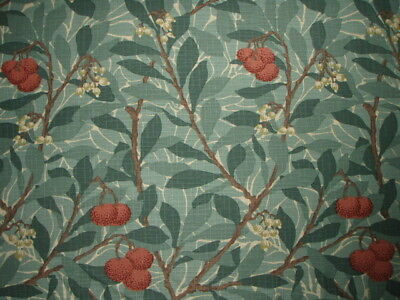 "WILLIAM MORRIS CURTAIN FABRIC DESIGN ""Arbutus"" 0.65 METRE DARK GREEN 100% COTTON"