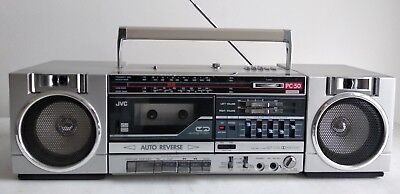 Jvc Pc-50 Boombox 4 Band Radio Aux Made In Japan Pc-50B Silver Ghetto Blaster