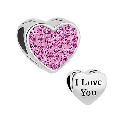 Pandora I Love You Crystal Bracelet Bead Charm Mum Mother Daughter Wife Gift New