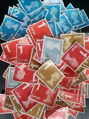 70 1st class and 30 2nd class large unfranked stamps, used,off paper, no gum