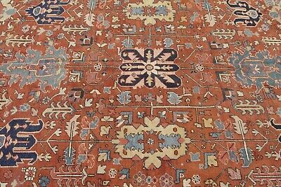AUTHENTIC ANTIQUE HERIZZ SERAPII HAND-KNOTTED WOOL ORIENTAL RUG  8.2 x 11.4