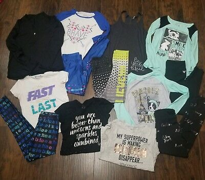 Girls Justice Lot Size 16, Athletic Leggings And Tops Size 18 Pullover 13 pieces