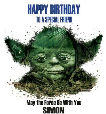 Star Wars Yoda PERSONALISED Birthday Card - dad son brother grandson name age