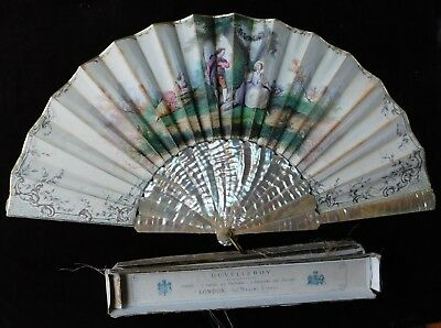 Antique Hand Painted Signed Mother Of Pearl Hand Fan, 27 Cm Long, Original Box
