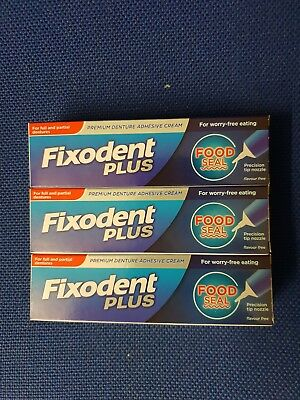 3x Fixodent Plus Food Seal Denture Adhesive Cream 40g With Precision Nozzle