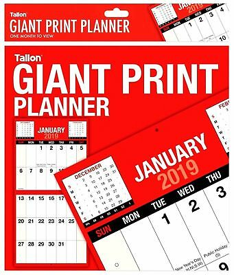 2019 Planner Giant Print Month To View Bound Wall Planner Calendar 3807