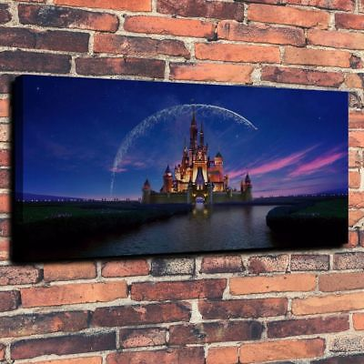 "Disney Sunset Castle Large Wall Art HD Print Canvas Home Decor 24""x42""Inch"