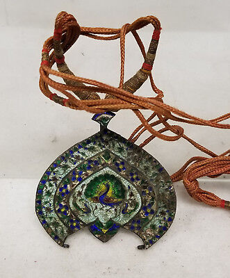 Antique Chinese South East Asian Indian Enameled Silver Pendant Peacock Necklace