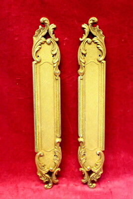 A Pair of French Victorian Brass Door Handle Plate  Antique-Chateau Door