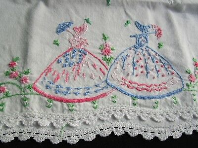Lot of Vintage 1930-50's Pillowcases W Embroidery, Crochet Lace, Knitted Lace