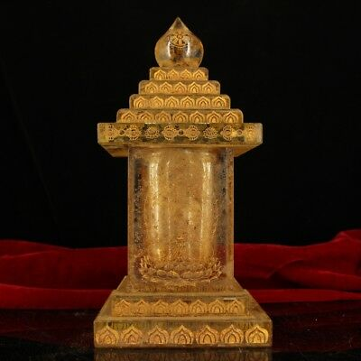 "10"" China old Antique Tibet crystal carved Inscription gilt Sharipu Stupa statue"