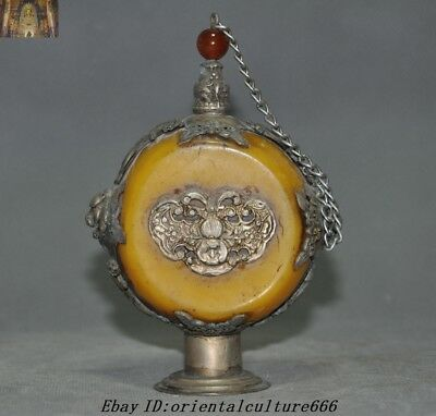 Collect Old Chinese Beeswax inlay Tibetan Silver Bat Beast Dragon snuff bottle