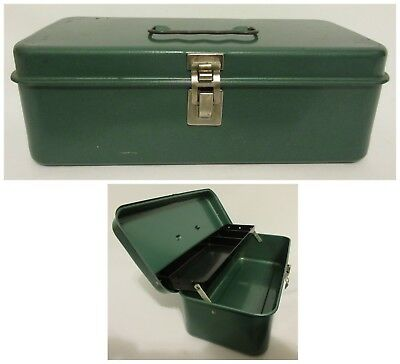 Vintage Green Metal Tool Box Antique Tin Box Sewing Crafting Storage Industrial
