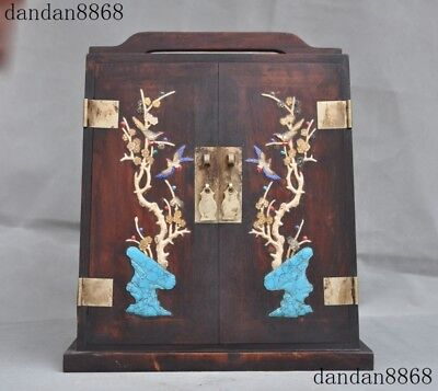 Chinese huanghuali wood Inlay shell Coral Turquoise lapis lazuli Storage Cabinet